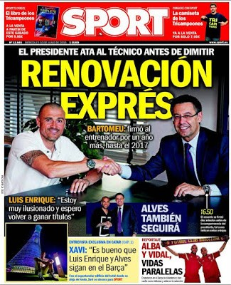 Portada Sport: Luis Enrique renueva hasta 2017