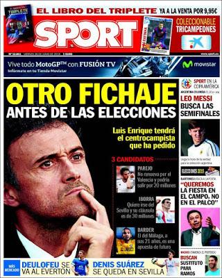 Portada Sport: Luis Enrique