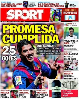 Portada Sport: Promesa cumplida luis suárez