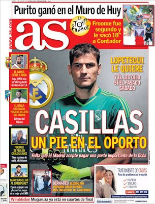 Portada AS: Iker Casillas cerca del Oporto