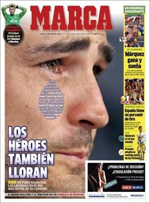 Portada Marca: Los héroes también lloran iker casillas adios
