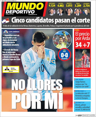 Portada Mundo Deportivo: no llores por mí