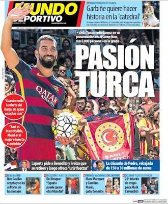 Portada Mundo Deportivo: Arda Turan presentado en Barcelona