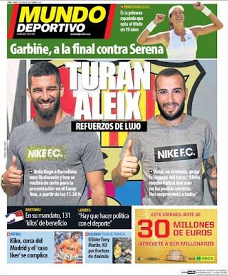 Portada Mundo Deportivo: Aleix y Turan refuerzos de lujo