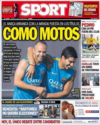 Portada Sport: Iniesta y Luis Suárez