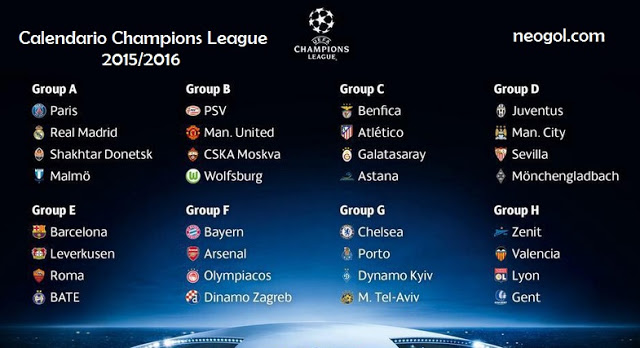 Calendario Champions League 2015-2016