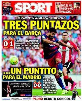 Portada Sport: tres puntazos barcelona