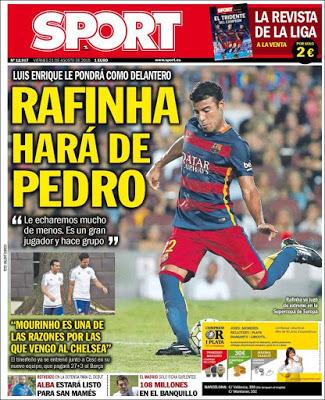 Portada Sport: Rafinha hará de Pedro