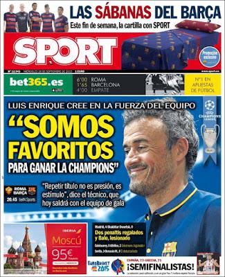 Portada Sport: Somos favoritos luis enrique