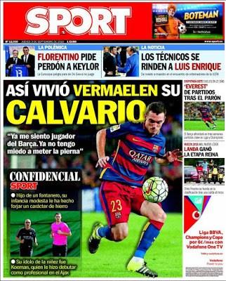 Portada Sport: el calvario de Vermaelen