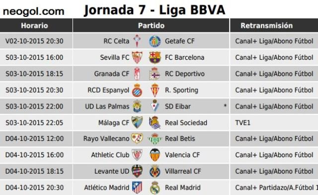 Partidos Jornada 7. Liga Española BBVA 2015-2016
