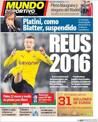 Portada Mundo Deportivo: Marco Reus 2016