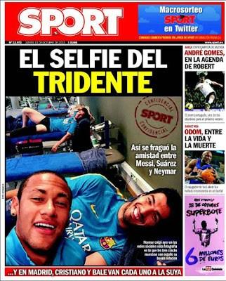 Portada Sport: el selfie del tridente