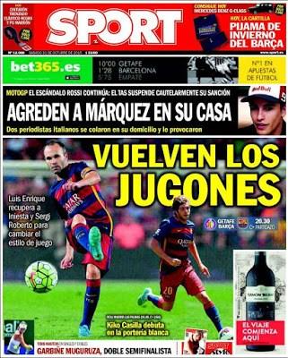Portada Sport: Iniesta