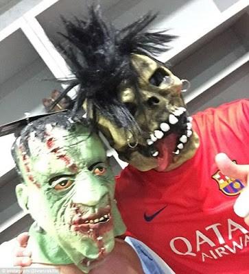 Los jugadores del Barça festejaron Halloween a lo grande Barçaween   claudio bravo
