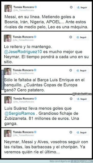 Los mejores memes del Barcelona-Real Sociedad. Jornada 13 roncero