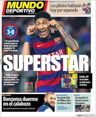 Portada Mundo Deportivo: Neymar Superstar