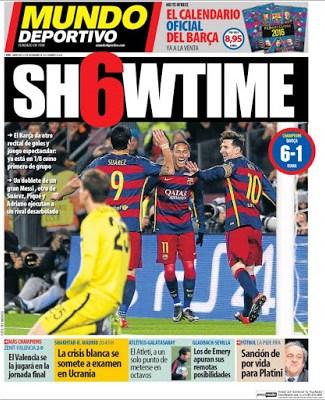 Portada Mundo Deportivo: Showtime barcelona