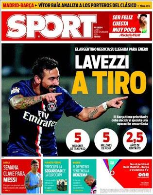 Portada Sport: Lavezzi a tiro