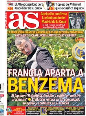 Portada AS: Francia aparta a Benzemá
