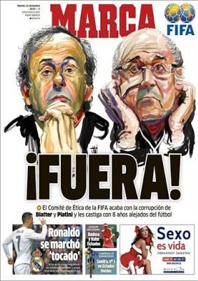 Portada Marca: Blatter y Platini fuera