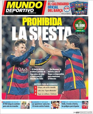 Portada Mundo Deportivo: prohibida la siesta barcelona