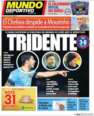 Portada Mundo Deportivo: Tridente