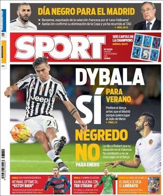 Portada Sport: Dybala si, Negredo No