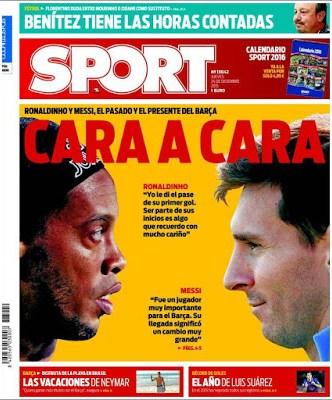 Portada Sport: Cara a Cara messi ronaldinho