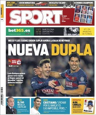 Portada Sport: Nueva Dupla suarez messi