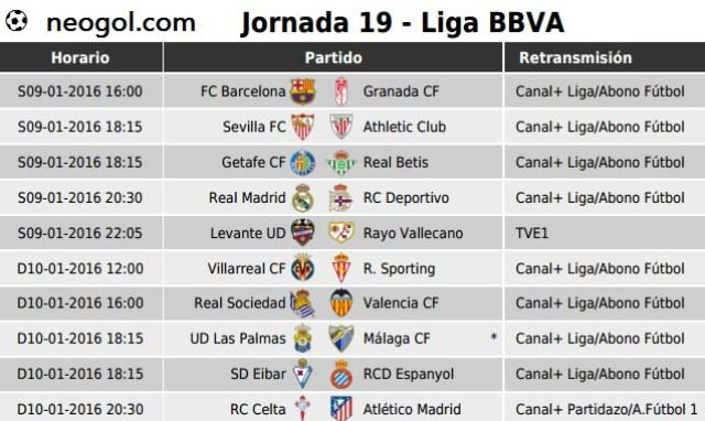 Partidos Jornada 19. Liga Española BBVA 2016