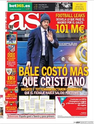 Portada AS: Bale costó más que Cristiano