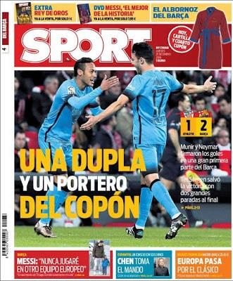 Portada Sport: Una dupla y un portero del Copón