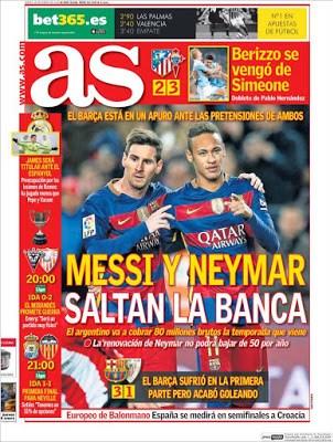 Portada AS: Messi y Neymar saltan la banca
