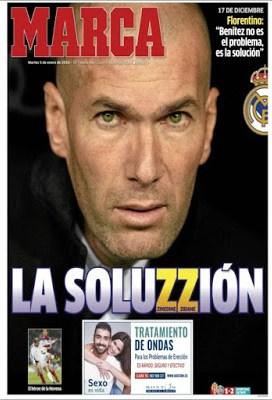 Portada Marca: Zinedine Zidane dt del Real Madrid