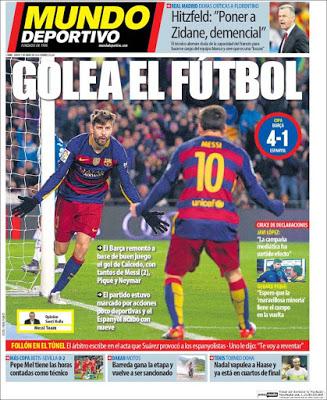 Portada Mundo Deportivo: golea el fútbol barça espanyol copa rey