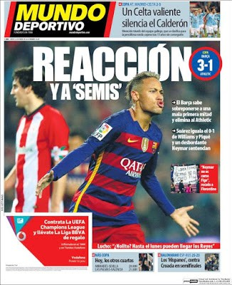 Portada Mundo Deportivo: Barça a semis copa rey