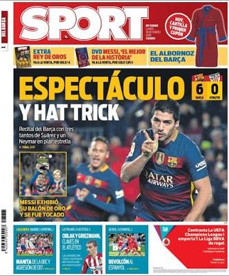 Portada Sport: Espectáculo y hat-trick barcelona 6 athletic 0