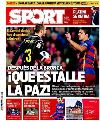 Portada Sport: que estalle la Paz