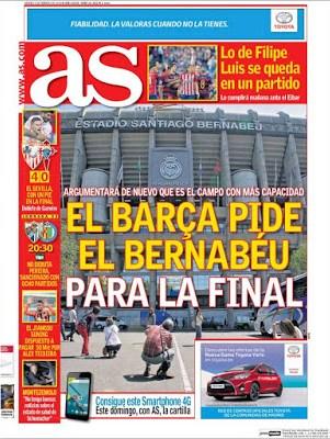 Portada AS: El Barça pide al Bernabéu