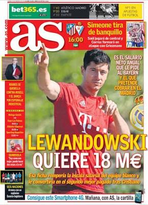 Portada AS: Lewandowski quiere 18 millons