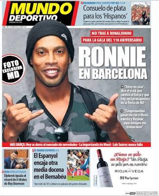 Portada Mundo Deportivo: Dinho en Barcelona