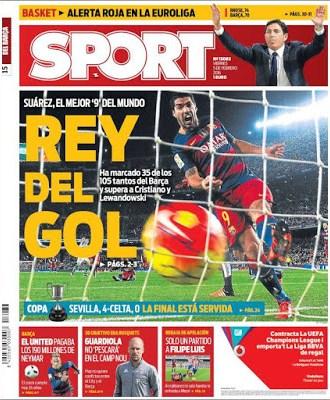 Portada Sport: Suárez, el Rey del gol