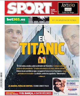 Portada Sport: el Madrid es el Titanic