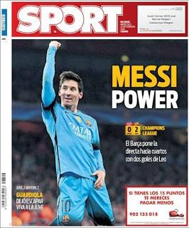 Portada Sport: Power Messi