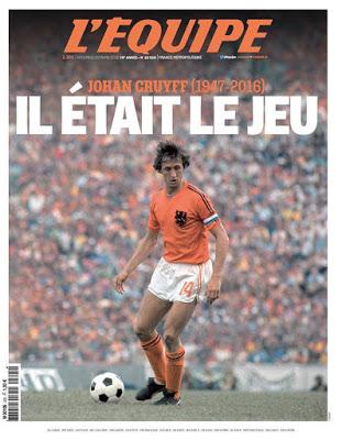 Portada L'Equipe: Muere Johan Cruyff