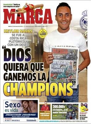 Portada Marca: Keylor quiere la Champions