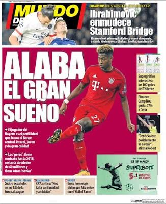 Portada Mundo Deportivo: Alaba el gran sueño