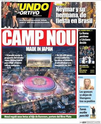 Portada Mundo Deportivo: el Nou Camp Nou