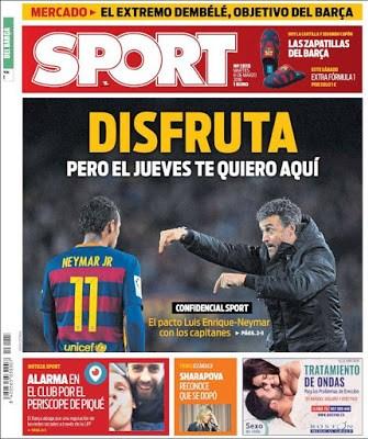 Portada Sport: pacto Lucho-Neymar